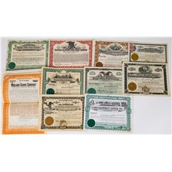 West Coast Farm-Related Stock Certificate Group (10 Different)  (113728)