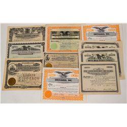 Western Region Fruit Grower & Processors Stock Certificates (10)  (124570)