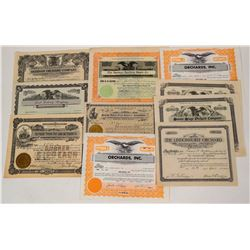 Western Region Fruit Grower & Processors Stock Certificates (10)  (124570)