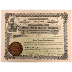 Moline Voting Machine Company Stock Certificate, 1906  (118583)
