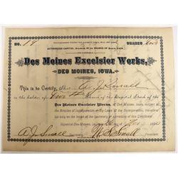 Des Moines Excelsior Works Stock  (123255)