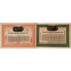 Cornstalk Products Company Stocks - both with Cornstock, picture vignette  (123334)