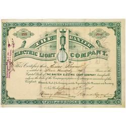 Baxter Electric Light Company Stock Certificate  (113668)