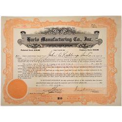 Harlo Manufacturing Co Stock ITASB John A Robling Sons Co. (Brooklyn Bridge Builder)  (118618)