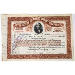 Edison Portland Cement Company Stock Certificate   (118624)