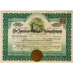 American Salvage Company Stock Certificate  (113661)