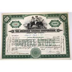 Argonaut Salvage Corporation Stock Certificate, Signed by Simon Lake  (118625)
