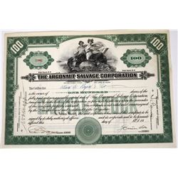 Argonaut Salvage Corporation Stock Certificate, Signed by Simon Lake  (118625)