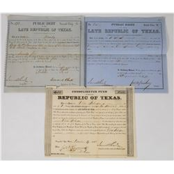 Three Late Republic of Texas Bonds  (113765)