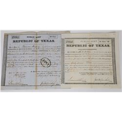 Two Texas Bonds/Warrants issued for the Somervell Campaign  (113767)