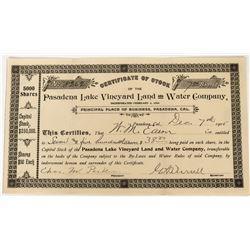 Pasadena Lake Vineyard Land and Water Company Stock  (123302)