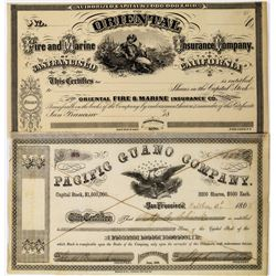 Two San Francisco Stock Certificates: Pacific Guano Co. and Oriental Insurance Co.  (113720)