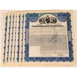 California Ink Company Stock Certificates (10)  (124824)