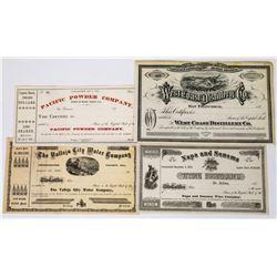 Rare Group of Unissued 1870s California Stock Certificates  (113672)
