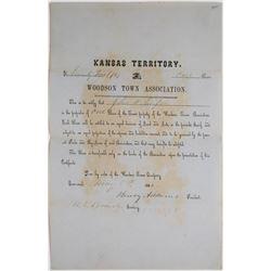 Woodson Town Association Stock, Kansas Territory, 1856  (113766)