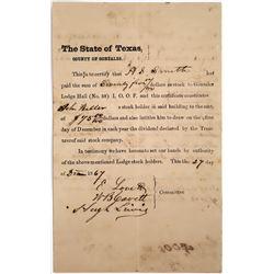 Gonzalez, Texas Lodge Hall, I.O.O.F. Stock Certificate, 1867  (118637)