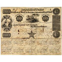 Republic of Texas $100 Bond  (113704)