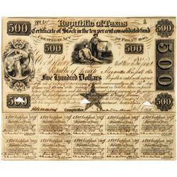 Republic of Texas $500 Bond  (113703)