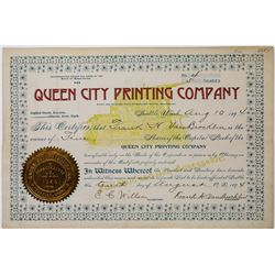 Queen City Printing Company Stock Certificate  (113656)