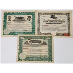 Three Pictorial Automobile Stock Certificates (Woods Mobilette and Pan Motor)  (113714)