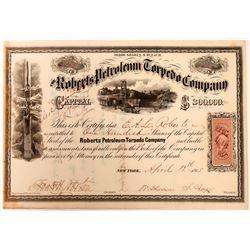 Roberts Petroleum Torpedo Company Stock, 1865  (118581)