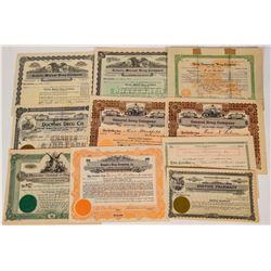 Western Region Drug Company Stock Certificates (10)  (124580)