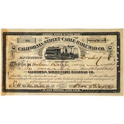 California Street Cable Railroad Company Stock Certificate issued to Borel  (113673)
