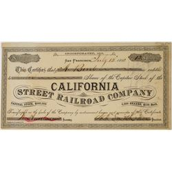 California Street Railroad Company Stock Certificate  (113710)