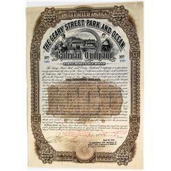 Geary Street Park and Ocean Railroad Co. Bond signed by Crocker  (113674)
