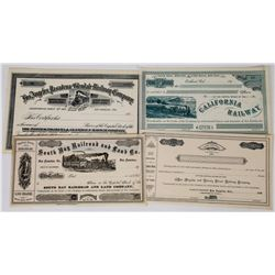 California Railroad Stock Certificates (4 Different)  (113659)