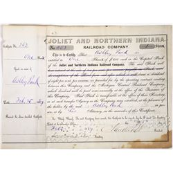 Joliet & Northern Indiana Railroad Stock Signed by Cornelius Vanderbilt II  (118649)