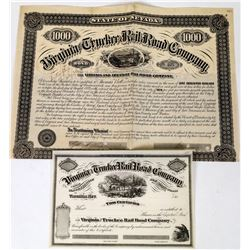 Virginia & Truckee Railroad Bond & Stock Certificate  (113682)