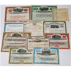 Eleven Different New York Railroad Stocks/Bonds  (113775)