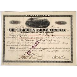 Chartiers Railway Company Stock Issued to and Signed by Henry Clay Frick  (118619)