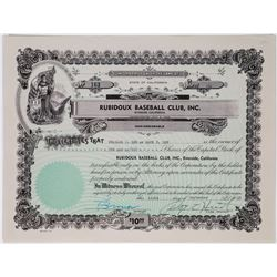Rubidoux Baseball Club, Inc. Stock Certificate  (113752)