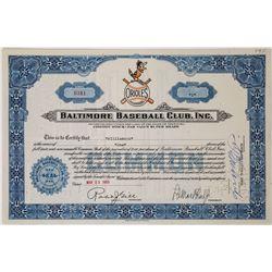 Baltimore Baseball Club, Inc. (Orioles) Stock Certificate  (113749)