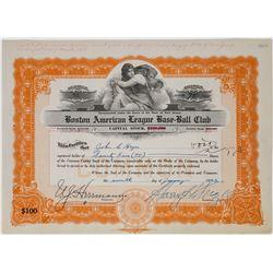 Boston American League Base-Ball Club Stock Certificate  (113754)