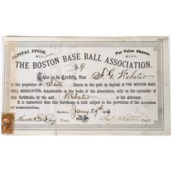 Boston Base Ball Association Stock Certificate   (113677)
