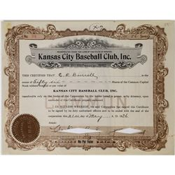 Kansas City Baseball Club, Inc. Stock Certficate  (113750)