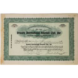 Newark International Baseball Club, Inc. Stock Certificate--Number 2 Issued  (113747)