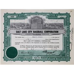Salt Lake City Baseball Corporation Stock Certificate  (113746)