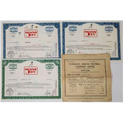 Football Themed Stock Certificates  (113745)