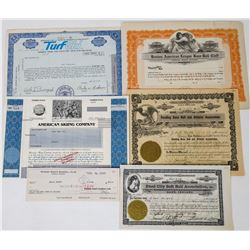 Miscellaneous Sports Stock Certificates  (113744)