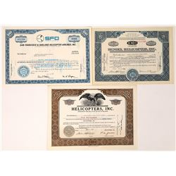 Helicopter Stock Certificates (3)  (124820)
