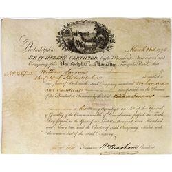 Philadelphia & Lancaster Turnpike Road Stock Certificate  (113759)