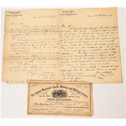 Letter & Stock Cert for Shares in British Columbia Mine  (124597)