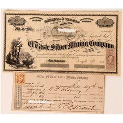 El Taste Silver Mining Co Stock, Sonora, Mexico, 1864  (118590)