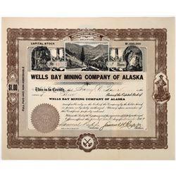 Wells Bay Mining Company of Alaska Stock Certificate  (118641)