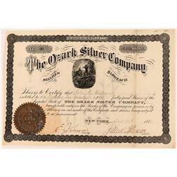 Ozark Silver Company Stock Certificate, Hot Springs, Arkansas, 1880  (118589)