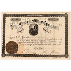 Ozark Silver Company Stock Certificate, Hot Springs, Arkansas, 1880  (118589)
